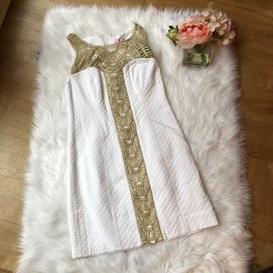 NWT Lilly Pulitzer Tana White Gold Dress